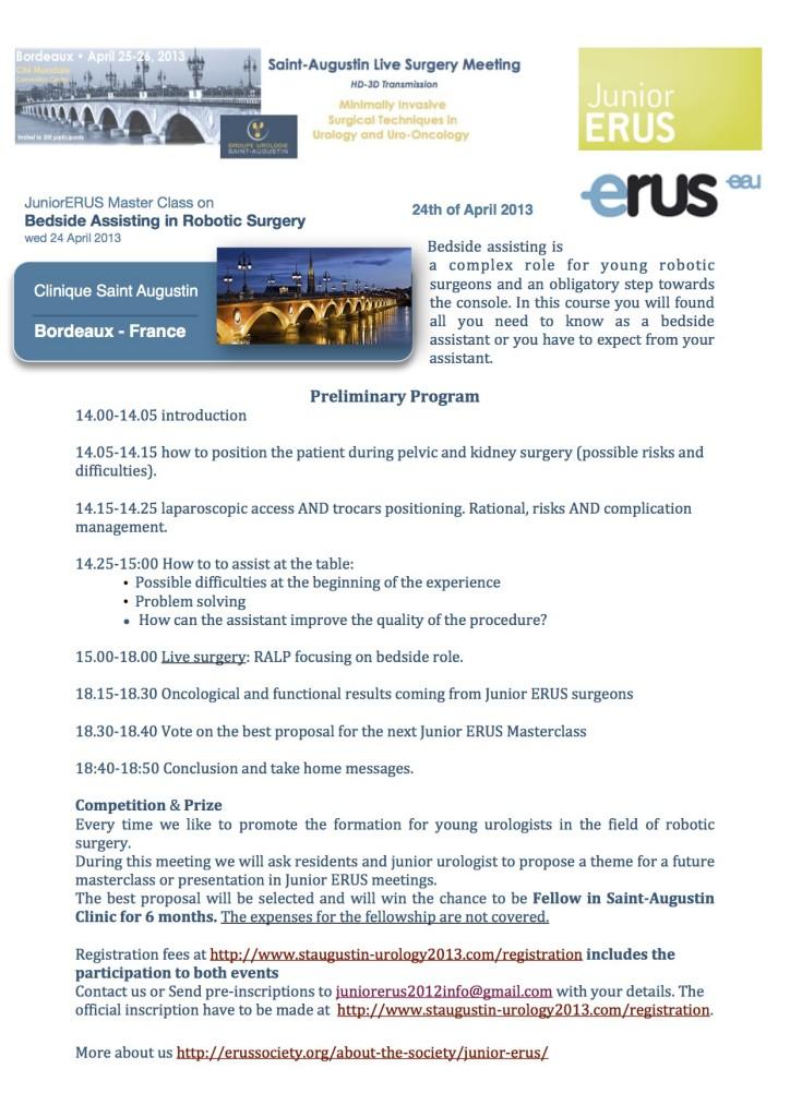 Master Class sul ruolo dell'aiuto al tavolo in chirurgia robotica urological.  24 Aprile 2013 Bordeaux.